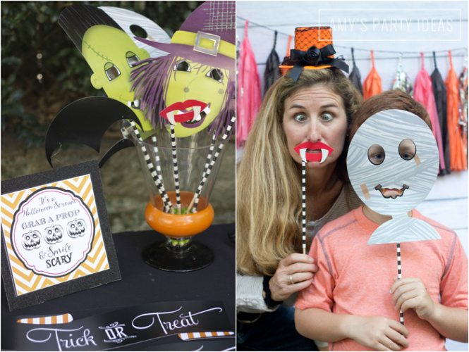 Halloween Pumpkin Carving Ideas from AmysPartyIdeas.com | Halloween Party Photo Props