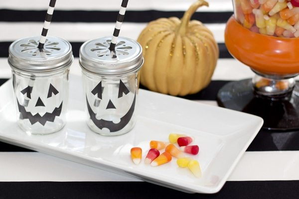 Halloween Party Ideas from AmysPartyIdeas.com | Jack-O-Lantern Mason Jar drinks