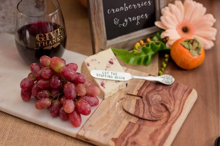 Thanksgiving Gathering Party Ideas from AmysPartyIdesa.com and Swoozies.com | Thanksgiving Marble Cheese Cutting Board