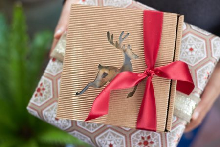 Holiday Gift Giving Ideas from AmysPartyIdeas.com and Swoozies.com | Reindeer Gift Box & Kraft Glitter Wrapping Paper