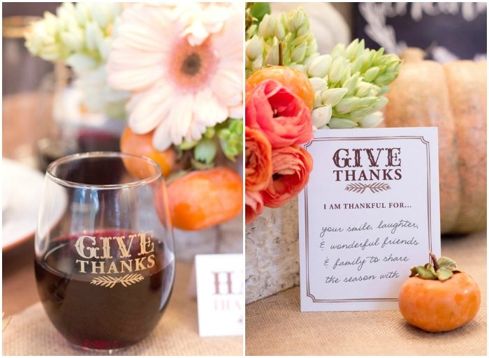 Thanksgiving Gathering Party Ideas from AmysPartyIdesa.com and Swoozies.com | Stemless Wine Glasses & Grateful Cards
