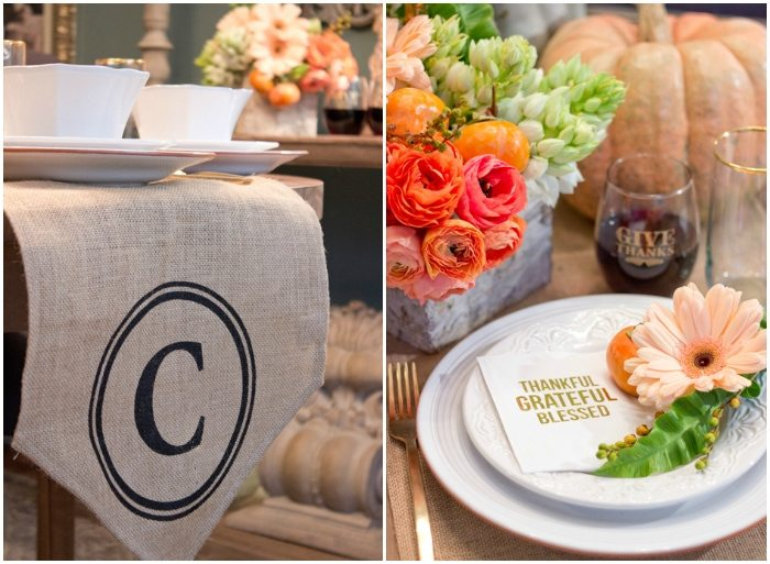 Thanksgiving Gathering Party Ideas from AmysPartyIdesa.com and Swoozies.com | Monogrammed Burlap Table Runner & Foil Napkins
