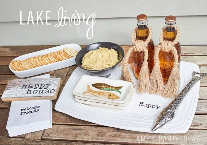 Lake Party Ideas | How to use your Happy Platter from Swoozies.com | Entertaining ideas from AmysPartyIdeas.com