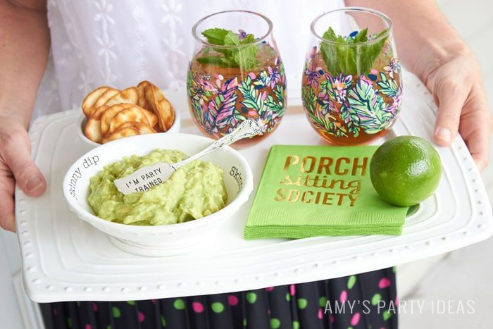 Preppy Porch Party Ideas | How to use your Happy Platter from Swoozies.com | Entertaining ideas from AmysPartyIdeas.com