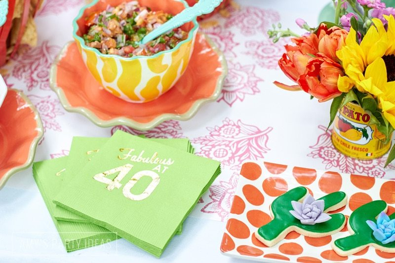 40th Birthday Party Ideas from AmysPartyIdeas.com | Hasta La Vista Fiesta | Olé 40 | #goodbyethirties #fiesta #cincodemayo | coton-colors.com #CotonColors | Guestbookstore.com #GuestBookStore | Minted.com #minted | Swoozies.com #Swoozies | Glitterville.com #Glitterville