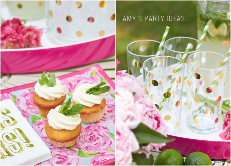 Kate Spade Gold Dot Bar Glasses |Tips for hosting a Glam Garden party | #swoozies | #katespade | AmysPartyIdeas.com | Amy's Party Ideas