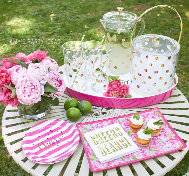 Kate Spade Gold Dot Barware  Tips for hosting a Glam Garden party   #swoozies   #katespade   AmysPartyIdeas.com   Amy's Party Ideas