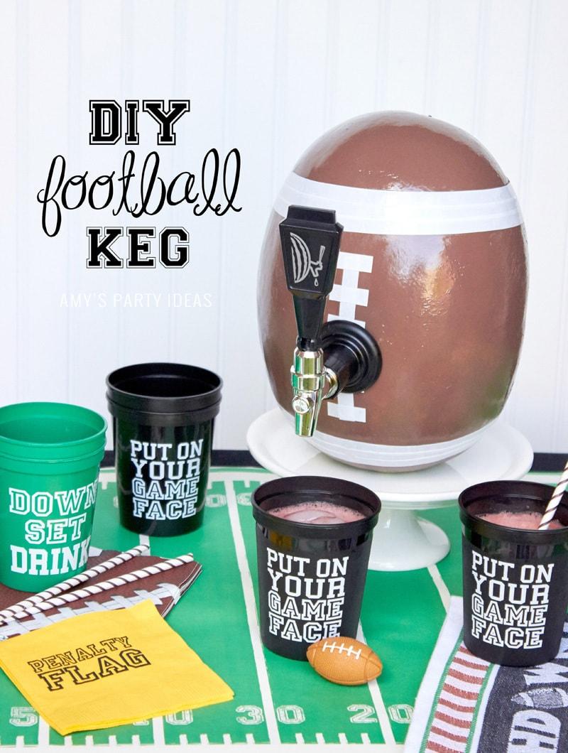 DIY Football Keg | DIY Tutorial | Watermelon Drink Dispenser | As seen on AmysPartyIdeas.com | Watermelon Keg Tap from Swoozies.com | #DIY #tutorial #football #tailgate #party #ideas #amyspartyideas | Football Party Ideas | Tailgate Party Ideas