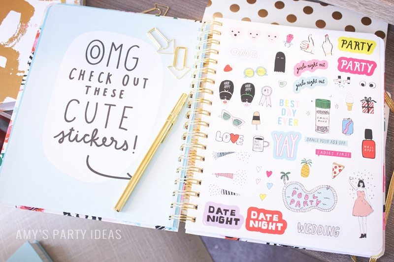 Home office makeover & back to school organization from AmysPartyIdeas.com | Swoozie's Back to School Agendas | #katespadeny #agendas #planners #bando #2015backtoschool #backtoschool | Get organized with fun day planners & agendas