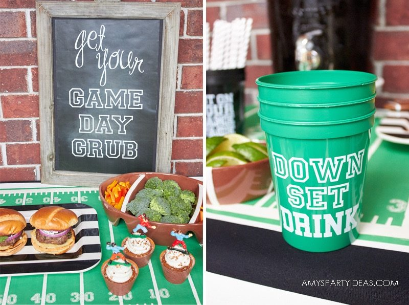 FREE Fottball printables | Down Set Drink Stadium Cups | Tailgating 101 - Easy Gameday Entertaining Ideas from AmysPartyIdeas.com | Gameday Tailgate partyware from Swoozies.com |#football #tailgate #tailgatingideas #footballpartyideas #collegefootball #wareagle