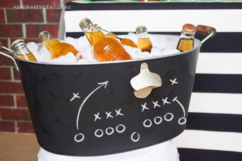 Chalkboard Drink Tub with Bottle Opener | Tailgating 101 - Easy Gameday Entertaining Ideas from AmysPartyIdeas.com | Gameday Tailgate partyware from Swoozies.com |#football #tailgate #tailgatingideas #footballpartyideas #collegefootball #wareagle #mudpie