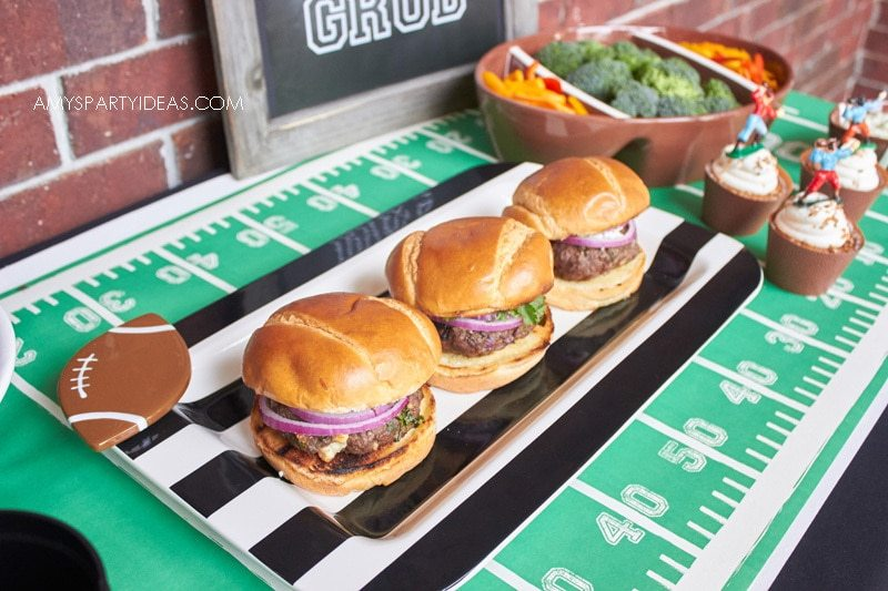 Happy Everything Black Stripe Platter with Football Mini Attachment | Tailgating 101 - Easy Gameday Entertaining Ideas from AmysPartyIdeas.com | Gameday Tailgate partyware from Swoozies.com |#football #tailgate #tailgatingideas #footballpartyideas #collegefootball #wareagle #cotoncolors