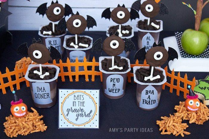 DIY Bats in the Graveyard Halloween Desserts & FREE PRINTABLE gravestones | #SnackPackMixIns #shop #ad #cbias