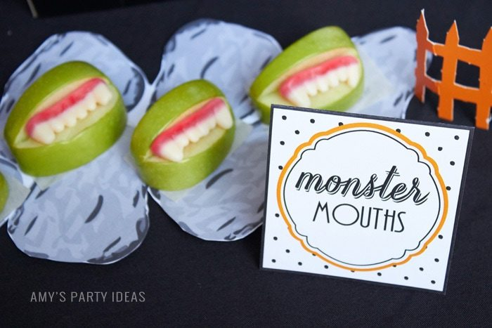 Halloween Monster Mouths | Allergy Free |DIY Bats in the Graveyard Halloween Desserts & FREE PRINTABLE gravestones | #SnackPackMixIns #shop #ad #cbias