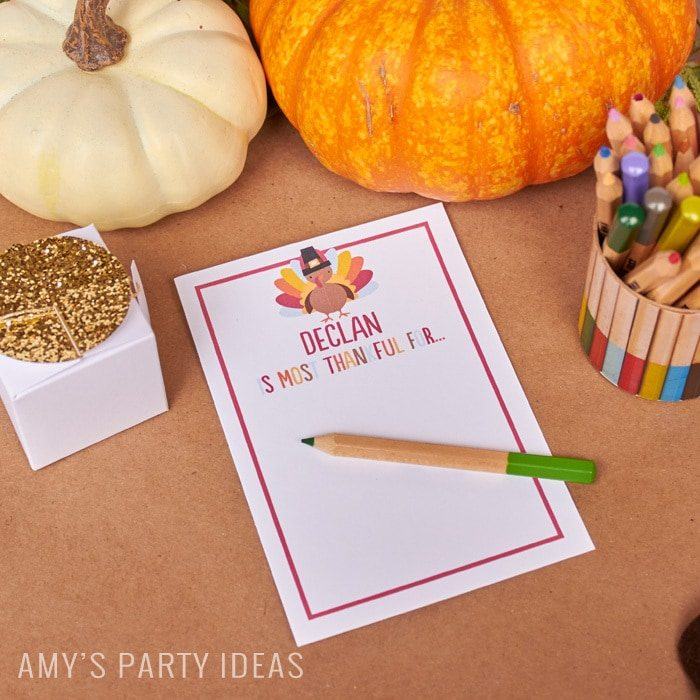 Personalized Place Cards | Thankful Cards | Kids Table Rocks | Thanksgiving Party Ideas for The Kids' Table as seen on AmysPartyIdeas.com | Swoozies Thanksgiving