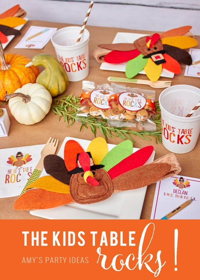 Kids Table Rocks | Thanksgiving Party Ideas for The Kids' Table as seen on AmysPartyIdeas.com | Swoozies Thanksgiving