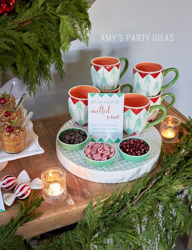 Marie Callender's® Dessert Pies Pie Bar | #ShareTheJoyofPie | Hot Chocolate Bar wtih Reddi-wip® | Holiday Open House Party Ideas | Chritsmas Party Ideas | FREE Printables