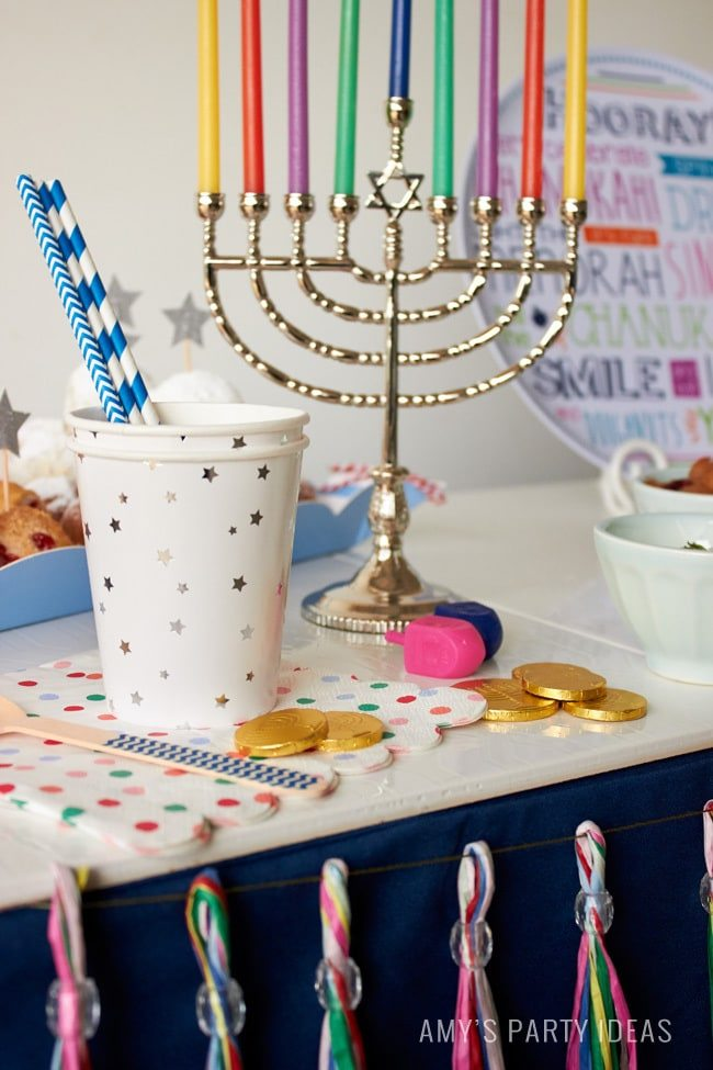 2015 Swoozies Hanukkah Decor | Chanukah party ideas as seen on AmysPartyIdeas.com