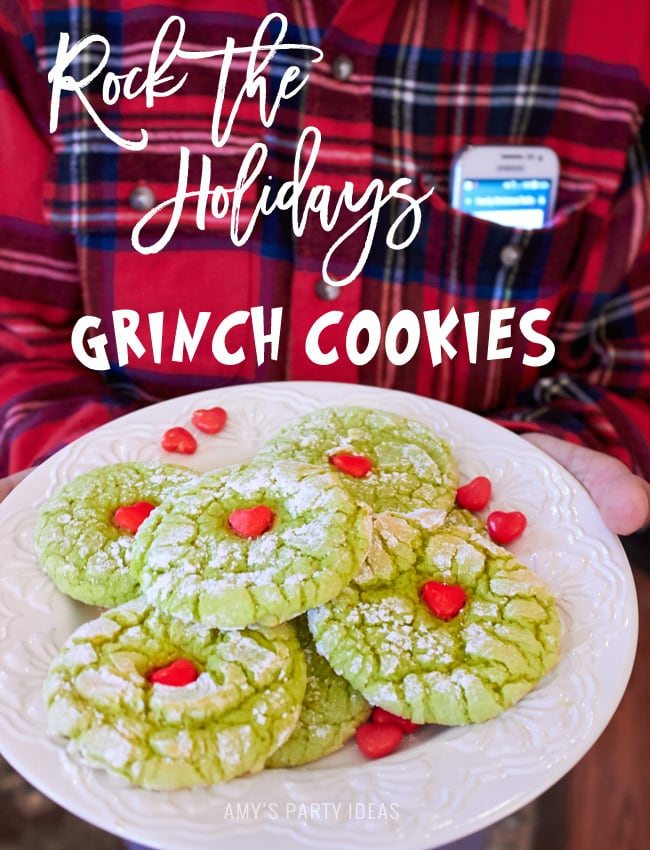 #RockTheHolidays with T-Mobile Simple Choice with Music Freedom | Grinch Cookies | Christmas cookies | AmysPartyIdeas.com | #ad