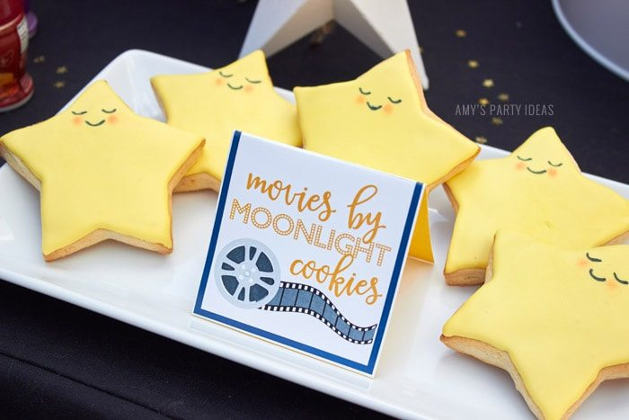 DIY Outdoor Movie Party Ideas | AmysPartyIdeas.com | Star Cookies | #DataAndAMovie