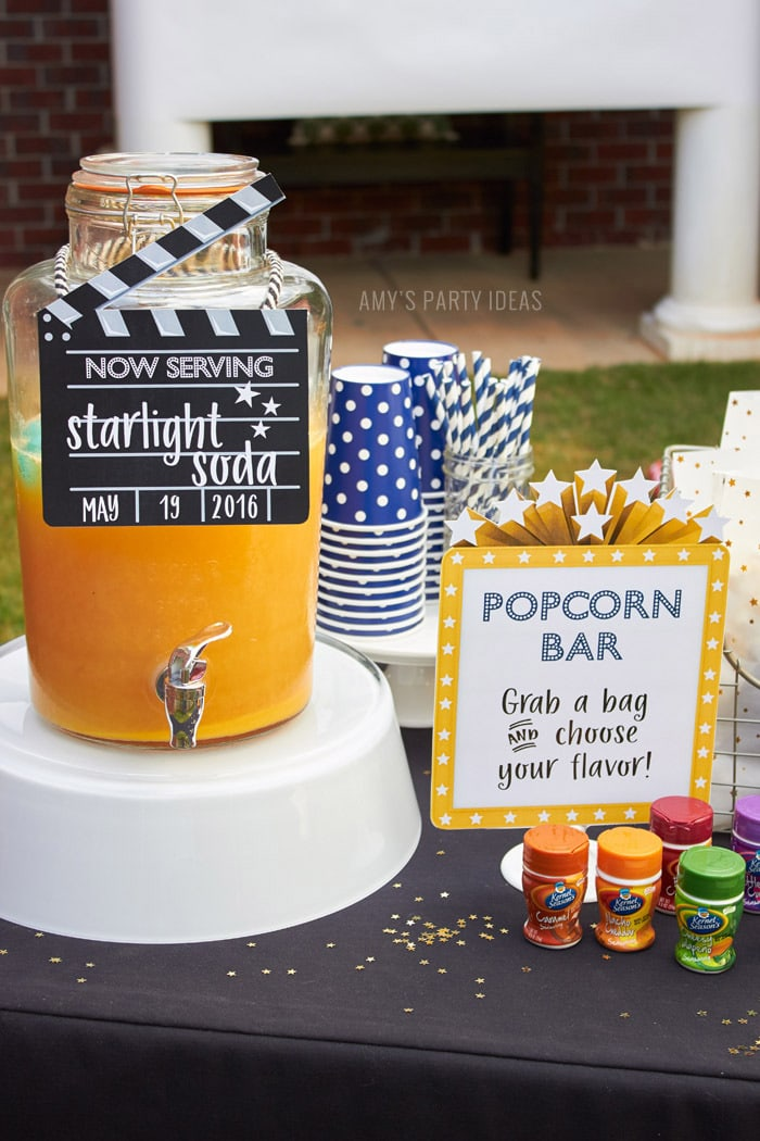 DIY Outdoor Movie Party Ideas | AmysPartyIdeas.com | Popcorn Bar | #DataAndAMovie