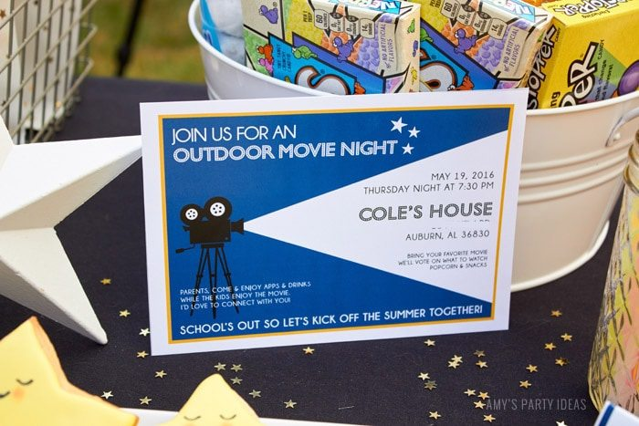 DIY Outdoor Movie Party Ideas | AmysPartyIdeas.com | Printable Invitations | Movie Night Printables| #DataAndAMovie