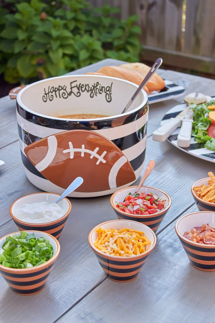 Football Tailgate Party Ideas from AmysPartyIdeas.com | Chili Bar | Tablescape | Coton Colors | White Chicken Chili | Recipes