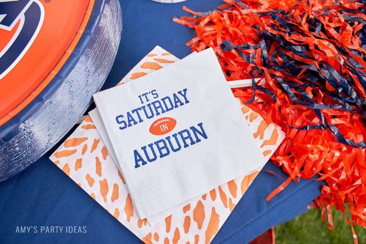 Personalized Napkins | It's Saturday in Auburn | Auburn Football Tailgate Ideas | Saturday down South | Football Tailgating | Football Watch Party | AmysPartyIdeas.com | Swooies.com