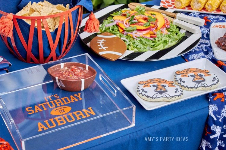 Personalized Acrylic Tray | It's Saturday in Auburn | Auburn Football Tailgate Ideas | Saturday down South | Football Tailgating | Football Watch Party | AmysPartyIdeas.com | Swooies.com