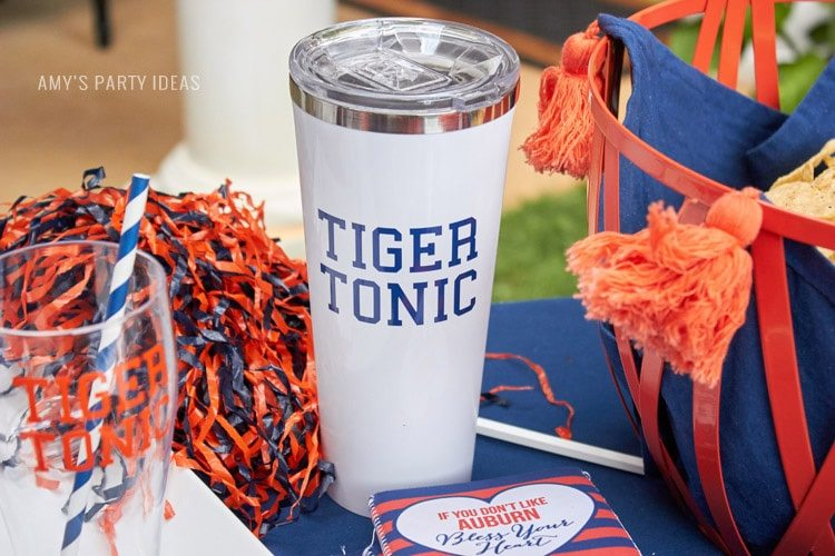 Tiger Tonice | Personalized Corksicle | Auburn Football Tailgate Ideas | Saturday down South | Football Tailgating | Football Watch Party | AmysPartyIdeas.com | Swooies.com