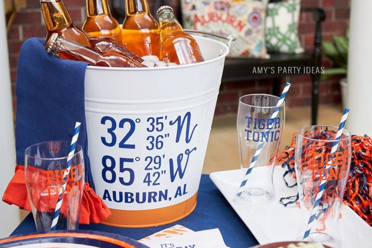Auburn Univeristy Longitude Latitude Drink Bucket | Auburn Football Tailgate Ideas | Saturday down South | Football Tailgating | Football Watch Party | AmysPartyIdeas.com | Swooies.com