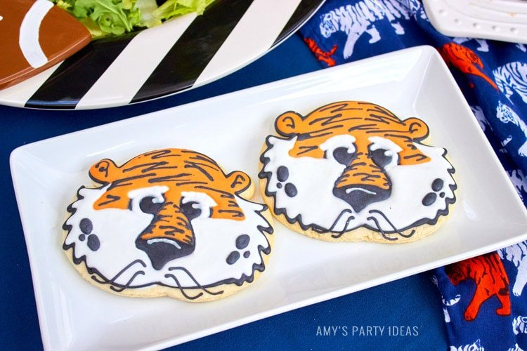 Aubie Sugar Cookies | Cakeitecture | Auburn Mascot Cookies | Auburn Football Tailgate Ideas | Saturday down South | Football Tailgating | Football Watch Party | AmysPartyIdeas.com | Swooies.com