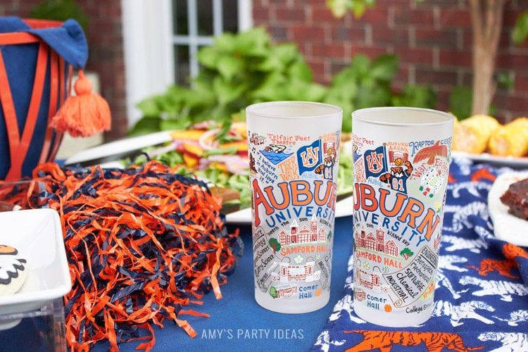 Auburn University Frosted Glasses | Auburn Football Tailgate Ideas | Saturday down South | Football Tailgating | Football Watch Party | AmysPartyIdeas.com | Swooies.com