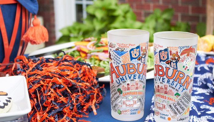 Auburn University Frosted Glasses | Auburn Football Tailgate Ideas | Saturday down South | Football Tailgating | Football Watch Party | AmysPartyIdeas.com | Swoozies.com