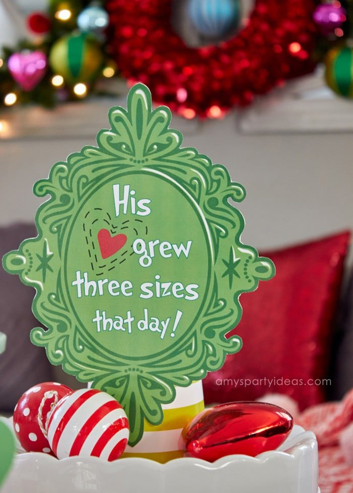 His heart grew three sizes FREE printable sign | Have a Holiday Family Movie Night | SImple party ideas for movie night at home from AmysPartyIdeas.com | #TidingsAndTreats #ad | FREE Printables Grinch Movie