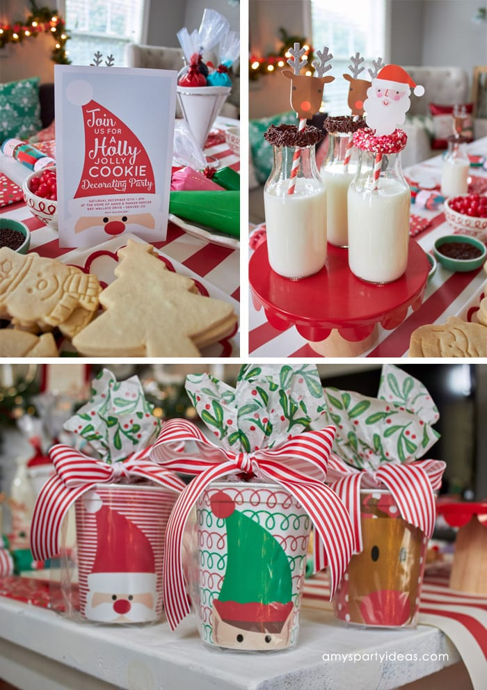 Christmas Cookie Decorating Party Ideas from AmysPartyIdeas.com and Swoozies.com | Sugar Cookie Recipe | Tablescape, Favors, Place Settings | Invitations