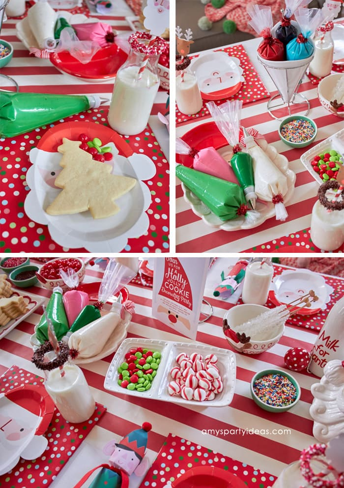 Christmas Cookie Decorating Party Ideas from AmysPartyIdeas.com and Swoozies.com | Sugar Cookie Recipe | Tablescape, Favors, Place Settings