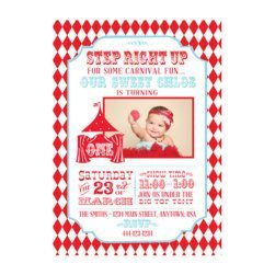Circus Carnival Birthday Party Ideas | Printable Personalized Photo Playbill Invitations