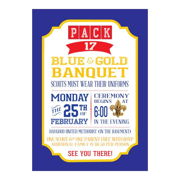 graphic about Cub Scout Printable named Cub Scout Blue Gold Rite Invitation - PRINTABLE