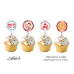 circus carnival personalizes party supplies printable cupcake toppers with photo #circus #party #ideas