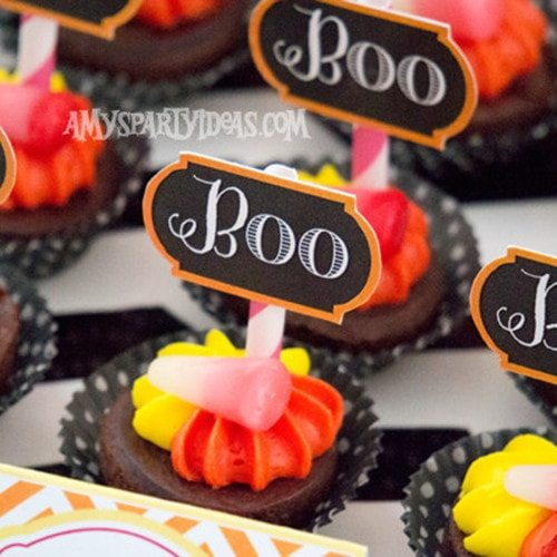 Halloween #CandyCorn Party Ideas & #Party #Printables for #Halloween - Boo Cupcake Toppers