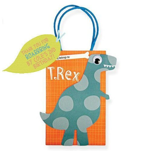 Dinosaur Birthday Party Supplies - Printable Personalized Favor Tags