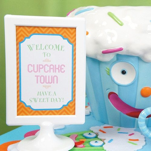 Cupcake Town Birthday Party Signs - Printable