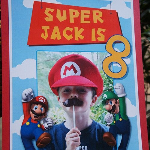 Super Mario Birthday Party Welcome Sign - personalized & printable