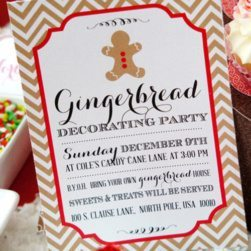 Gingerbread Party Ideas - Invitations by LuluCole - #gingerbread #partyideas @LuluCole