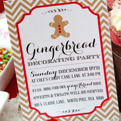 Gingerbread House Decorating Party Vintage Invitation – Gingerbread Party Invitations