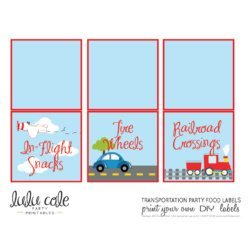 Printable Transportation Party Food Table Tent Labels| Edit Your Own | Editable & Printable party supplies from LuluCole.com exclusively for AmysPartyIdeas.com