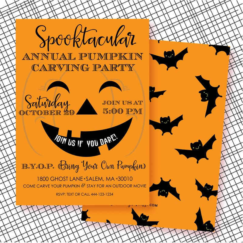 Halloween Pumpkin Carving Party Invites PRINTABLE from LuluCole for AmysPartyIdeas.com