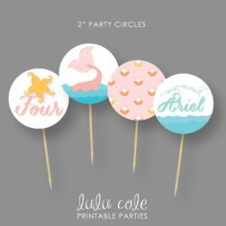 Mermaid Birthday Party Cupcake Toppers - Under the Sea - Printable - LuluCole