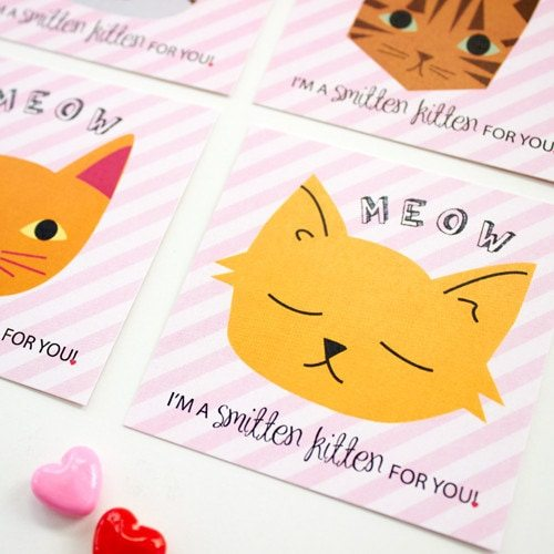 printable smitten kitten classroom valentines from LuluCole.com